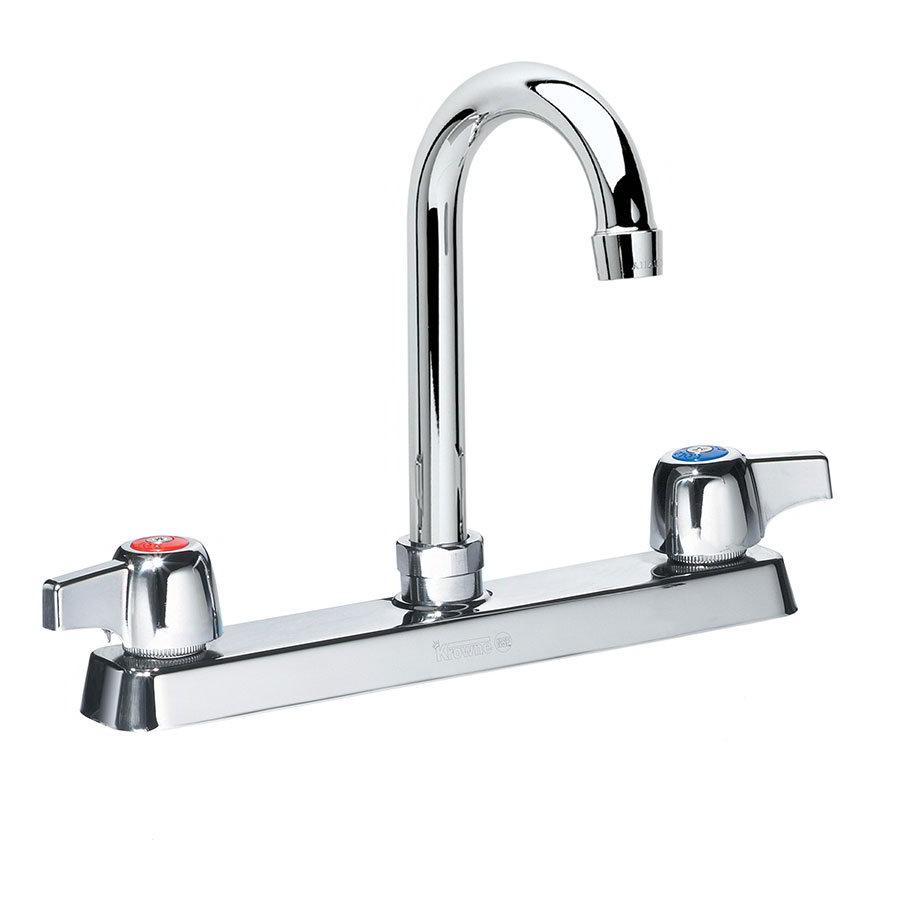 """Krowne 13-801L Deck Mount Faucet - 6"""" Gooseneck Spout, 8"""" Centers, Low Lead"""