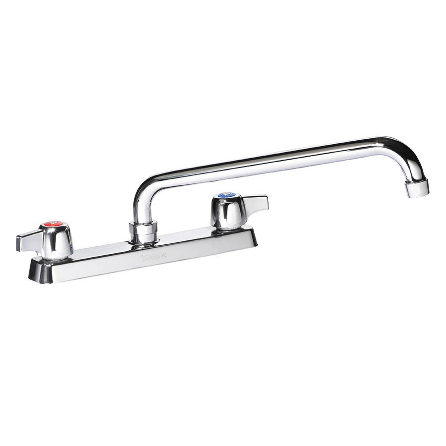 "Krowne 13-814L Deck Mount Faucet - 14"" Swing Spout, 8"" Centers, Low Lead"