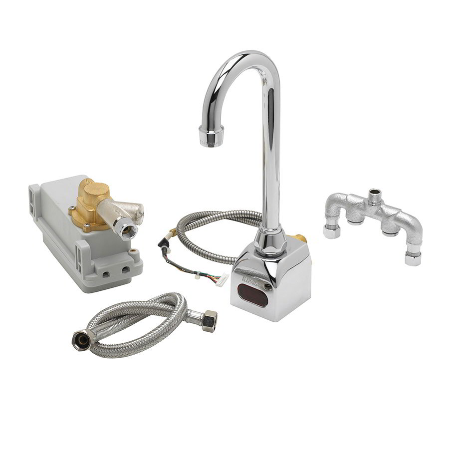 "Krowne 16-190 Royal Series Electronic Wall Mount Faucet, 3"" Gooseneck 6 Volt"