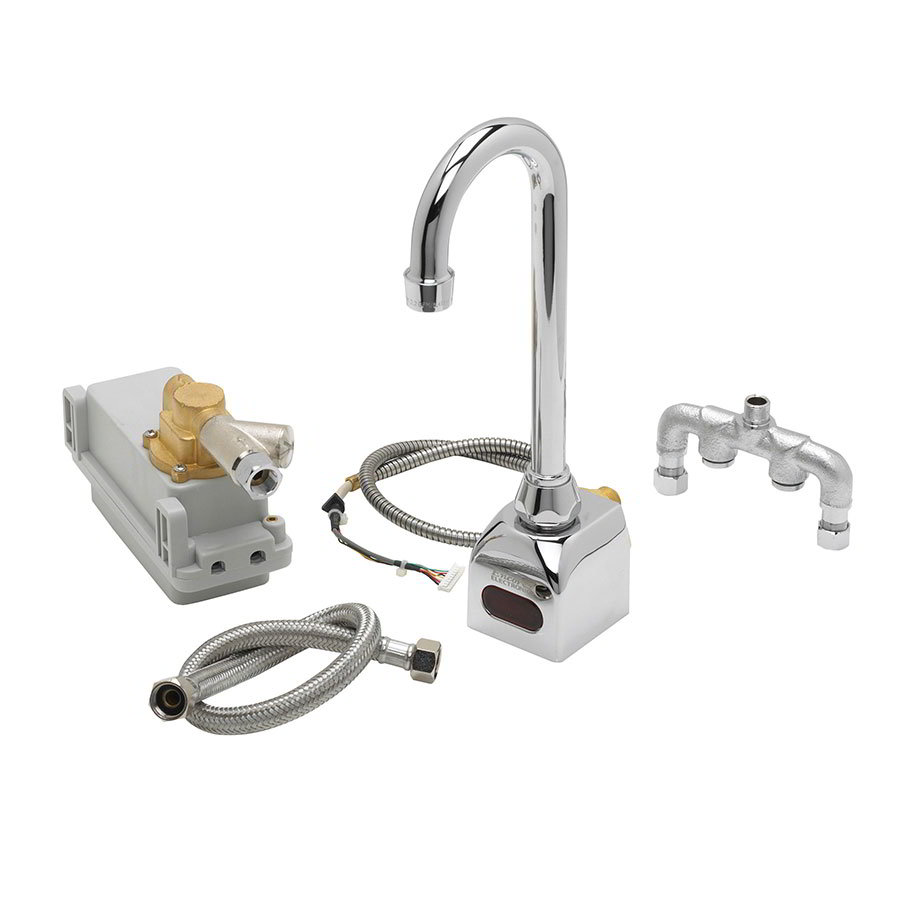 Krowne 16-191 Royal Series Electronic Wall Mount Faucet, 6-in Gooseneck 6 Volt