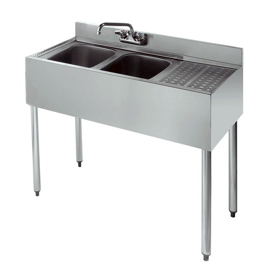 "Krowne 18-32L 36"" 2-Compartment Sink w/ 10""W x 14""L Bowl, 10"" Deep"