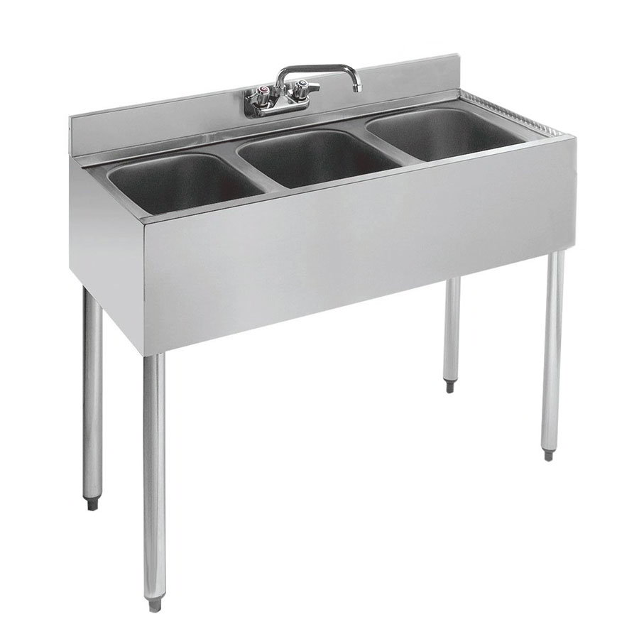 "Krowne 18-33 36"" 3-Compartment Sink w/ 10""W x 14""L Bowl, 10"" Deep"