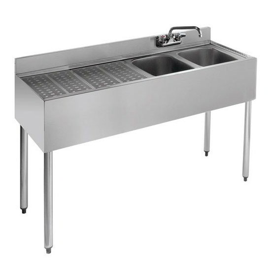 "Krowne 18-42R Under Bar Sink - (2) 10x14x9.75"" Bowls, Left Drainboard, 48x18.5"