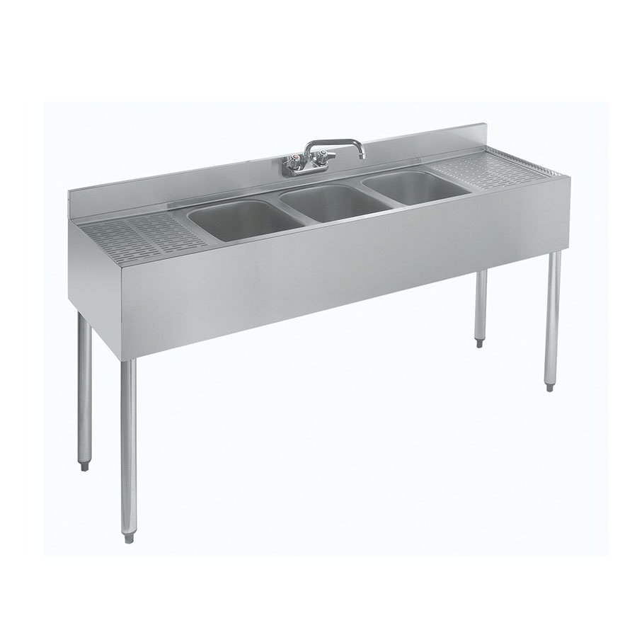 "Krowne 18-53C Under Bar Sink - (3) 10x14x9.75"" Bowls, R-L Drainboard, 60x18.5"