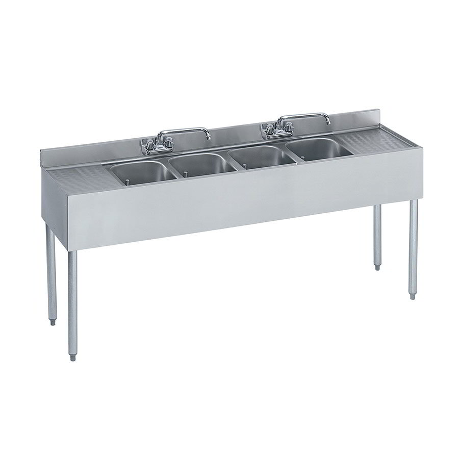 "Krowne 18-64C Under Bar Sink - (4) 10x14x9.75"" Bowls, R-L Drainboard, 72x18.5"