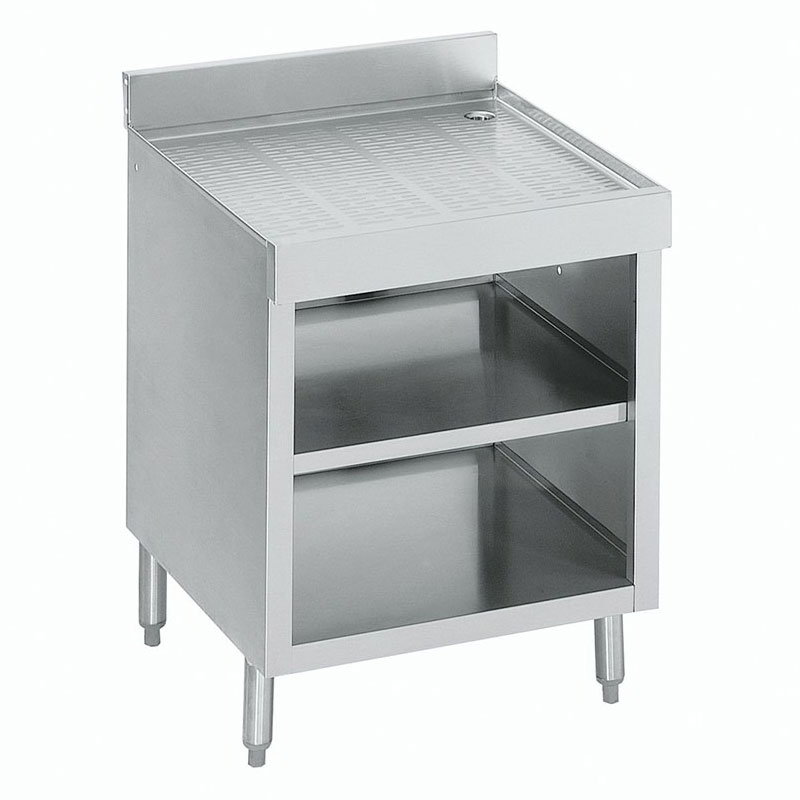 "Krowne 18-GSB3 Under Bar Glass Storage Cabinet - Open Front, 4"" Back Splash, 24x23.5"
