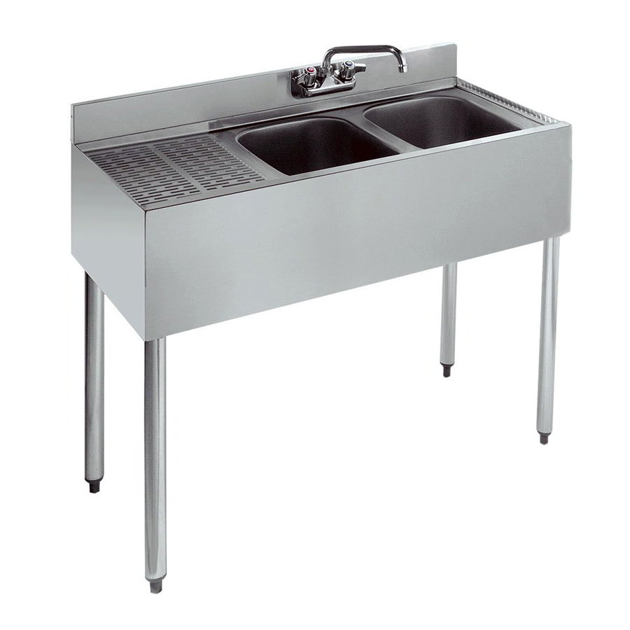 "Krowne 21-32R 36"" 2-Compartment Sink w/ 10""W x 14""L Bowl, 10"" Deep"