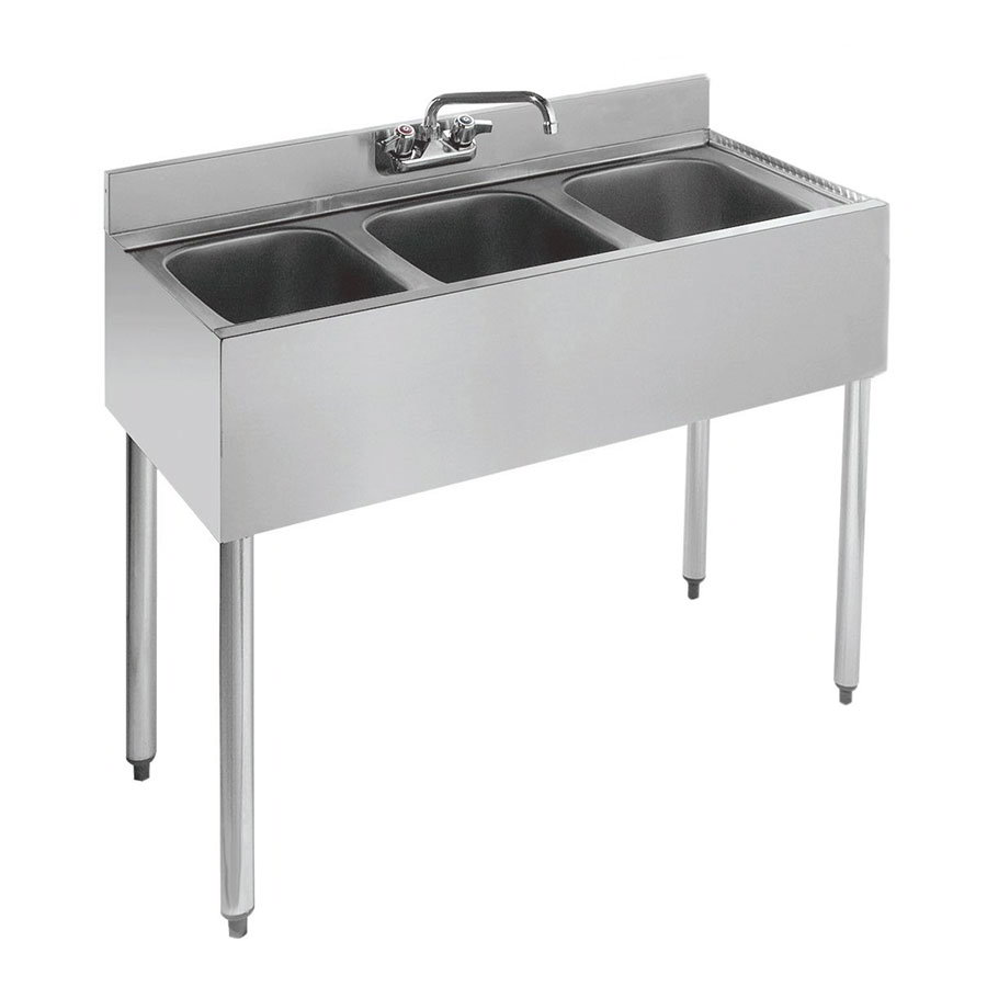"Krowne 21-33 36"" 3-Compartment Sink w/ 10""W x 14""L Bowl, 10"" Deep"