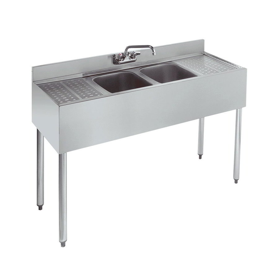 "Krowne 21-42C 48"" 2-Compartment Sink w/ 10""W x 14""L Bowl, 10"" Deep"