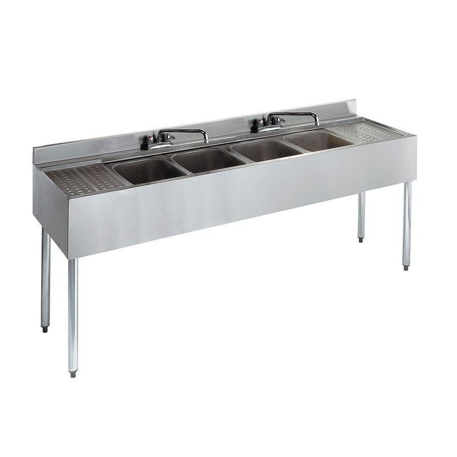 "Krowne 21-64C 72"" 4-Compartment Sink w/ 10""W x 14""L Bowl, 10"" Deep"
