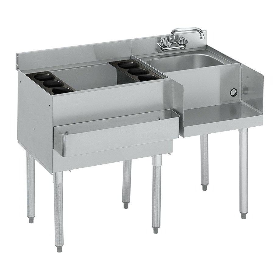 "Krowne 21-W42L-7 Left Ice Bin/Right Blender Unit - 80-lb Capacity, Dump Sink, 42x25"", Cold Plate"