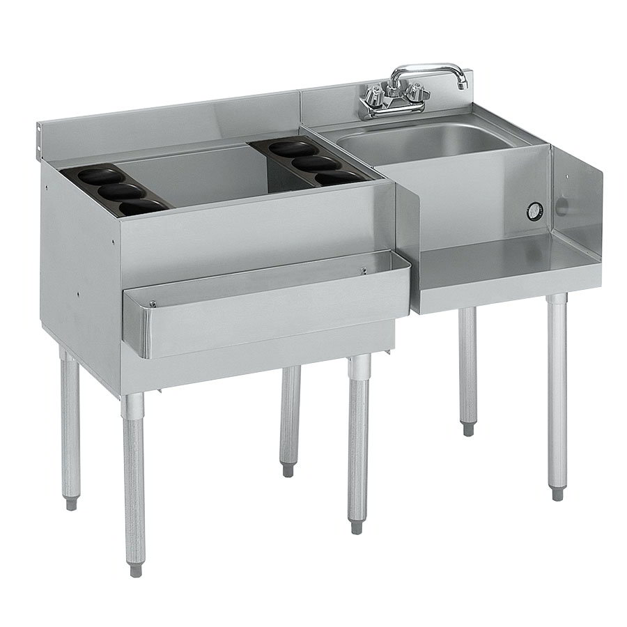 Krowne 21-W54L Left Ice Bin/Right Blender Unit - 80-lb Capacity, Dump Sink, 54x25