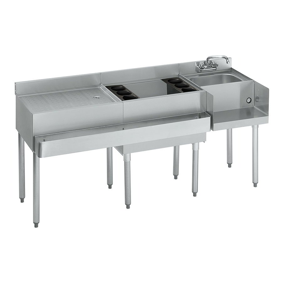 "Krowne 21-W66R-7 Right Blender/Cocktail/Left Drainboard Unit - 80-lb Ice Bin, 66x.25"", Cold Plate"