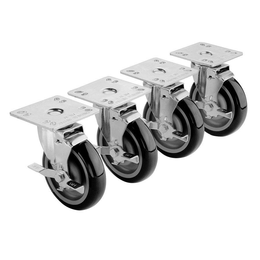 Krowne 28-101S 4-Piece Universal Plate Caster Set w/ 3-in Wheel, 4 x 4-in