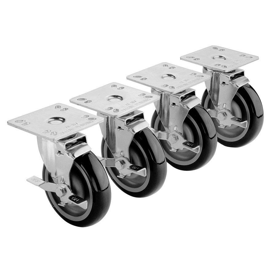 "Krowne 28-107S 4-Piece Universal Plate Caster Set w/ 5"" Wheel, 4 x 4"""