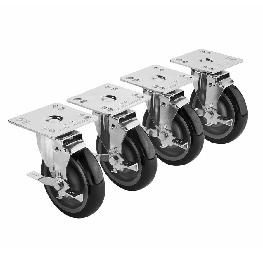 Krowne 28-111S 4-Piece Universal Plate Caster Set w/ 5-in Wheel, 3.5 x 3.5-in