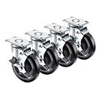 Krowne 28-113S 4-Piece Universal Plate Caster Set w/ 5-in Wheel, 2.38 x 3.63-in