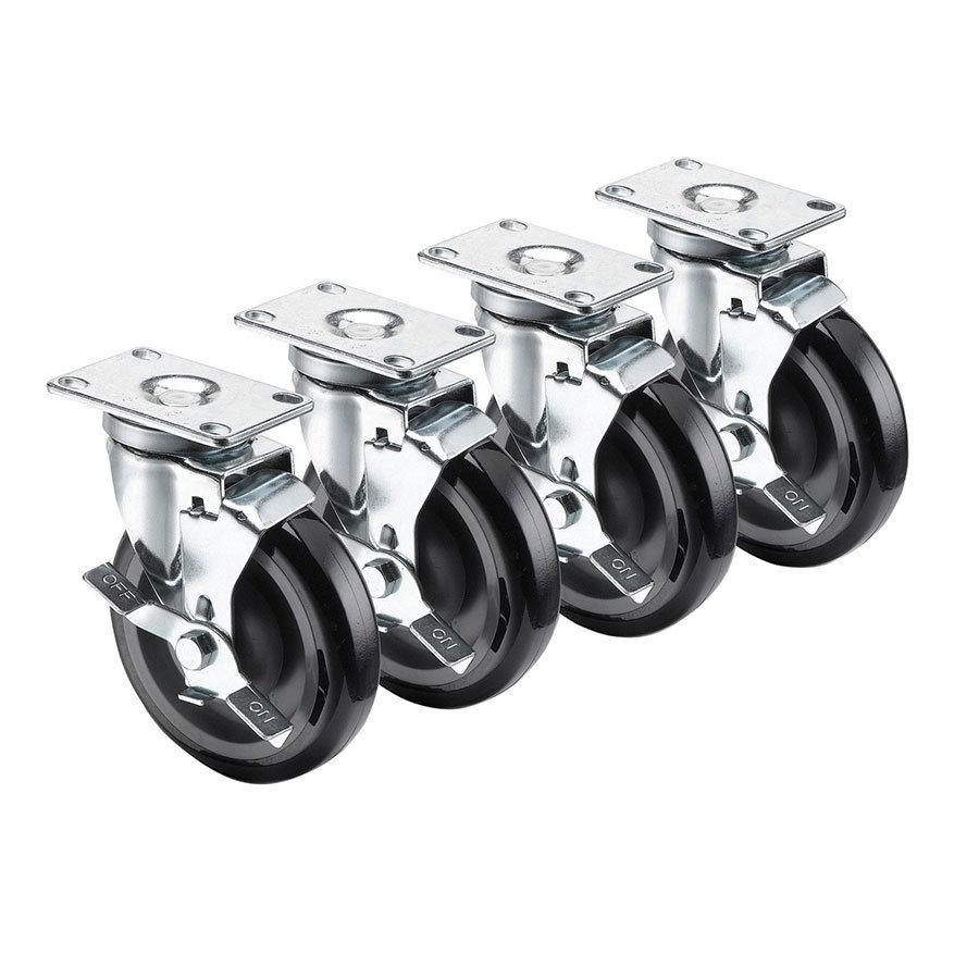 "Krowne 28-113S 4-Piece Universal Plate Caster Set w/ 5"" Wheel, 2.38 x 3.63"""