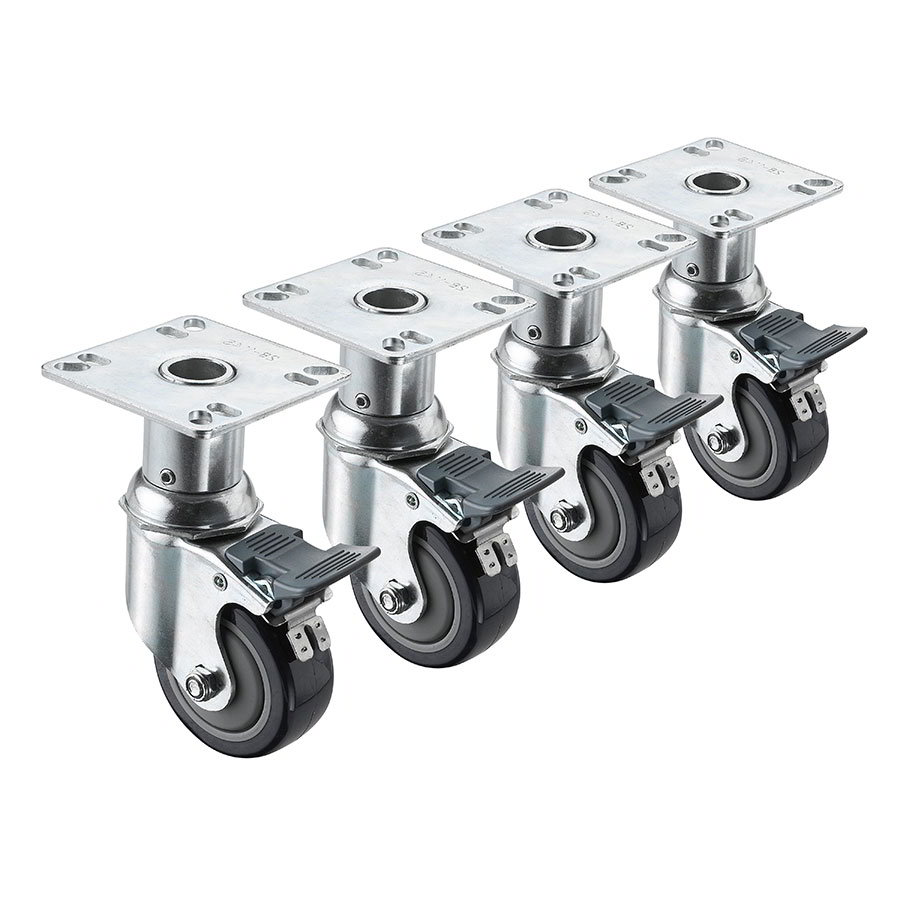 "Krowne 28-114S Adjustable Plate Caster w/ 3"" Wheel"