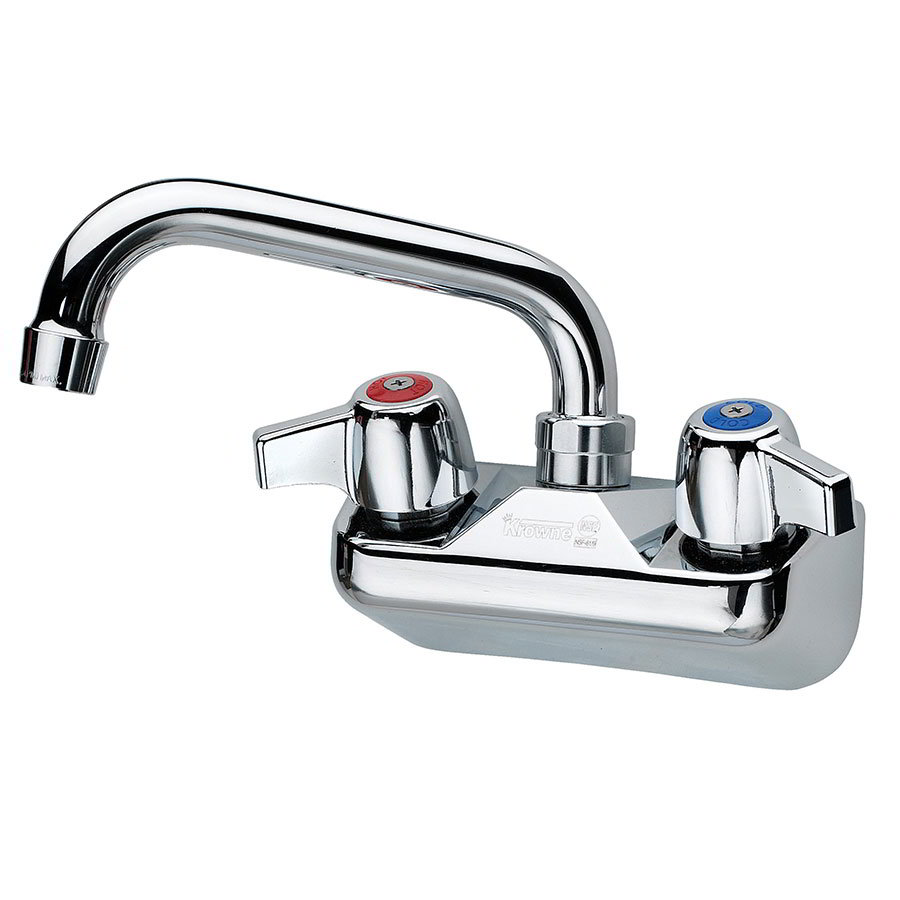 "Krowne C-1B Wall Mount Faucet - 4"" Centers, 6"" Spout, Low Lead"
