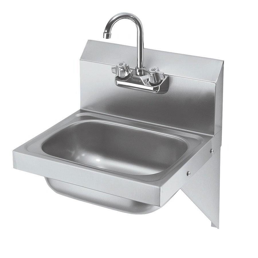 """Krowne HS-10 Wall Mount Commercial Hand Sink w/ 12.5""""L x 9.75""""W x 5.67""""D Bowl, Gooseneck Faucet"""