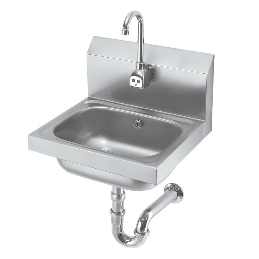 "Krowne HS-12 Wall Mount Hand Sink - 14x10x6"" Bowl, Electronic Gooseneck Faucet, Low Lead"