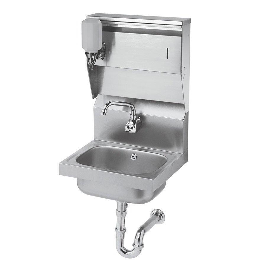 "Krowne HS-13 Hand Sink - 10.37x14x9"" Bowl, Splash Mount, 12.25x18"", Stainless"