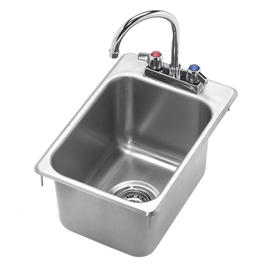 """Krowne HS-1419 Drop-In Commercial Hand Sink w/ 10.38""""L x 14""""W x 9""""D Bowl, Gooseneck Faucet"""