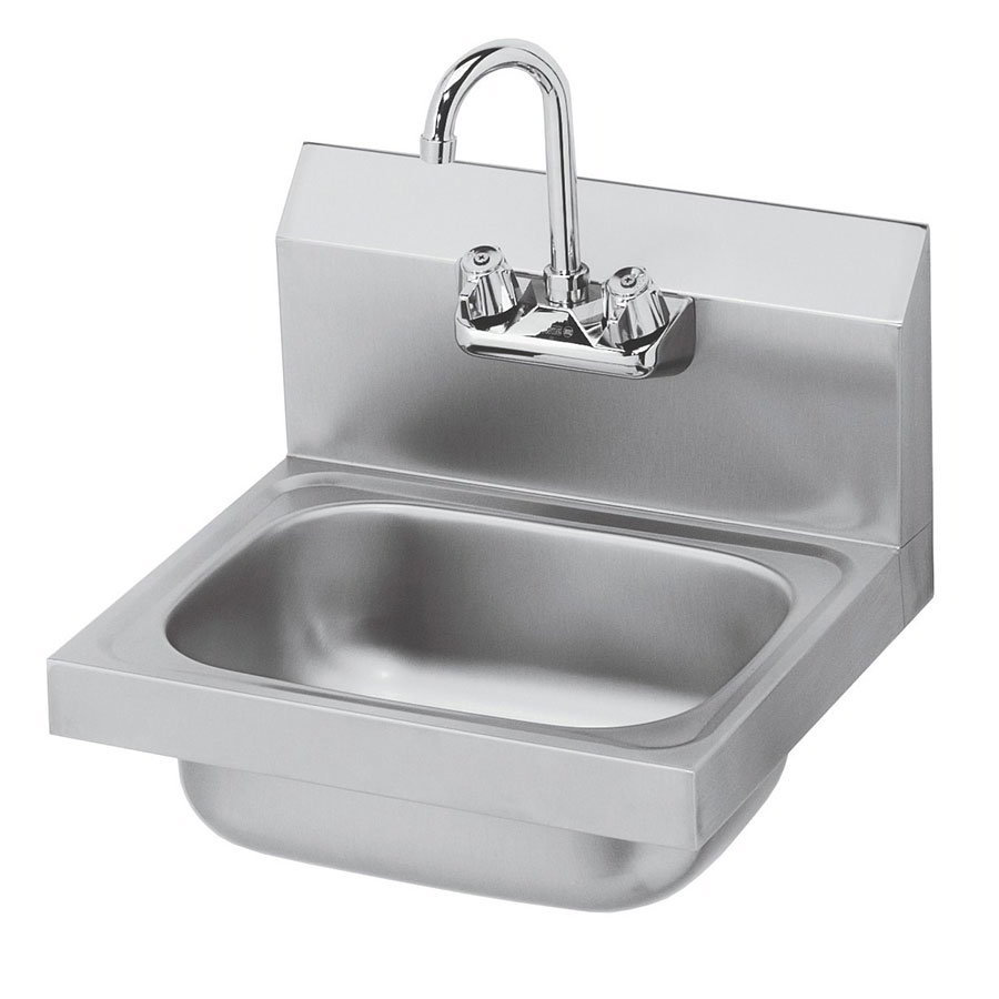 "Krowne HS-2L Wall Mount Hand Sink - 10x14x6"" Bowl, Splash Mount, Side Splashes, 16x15"