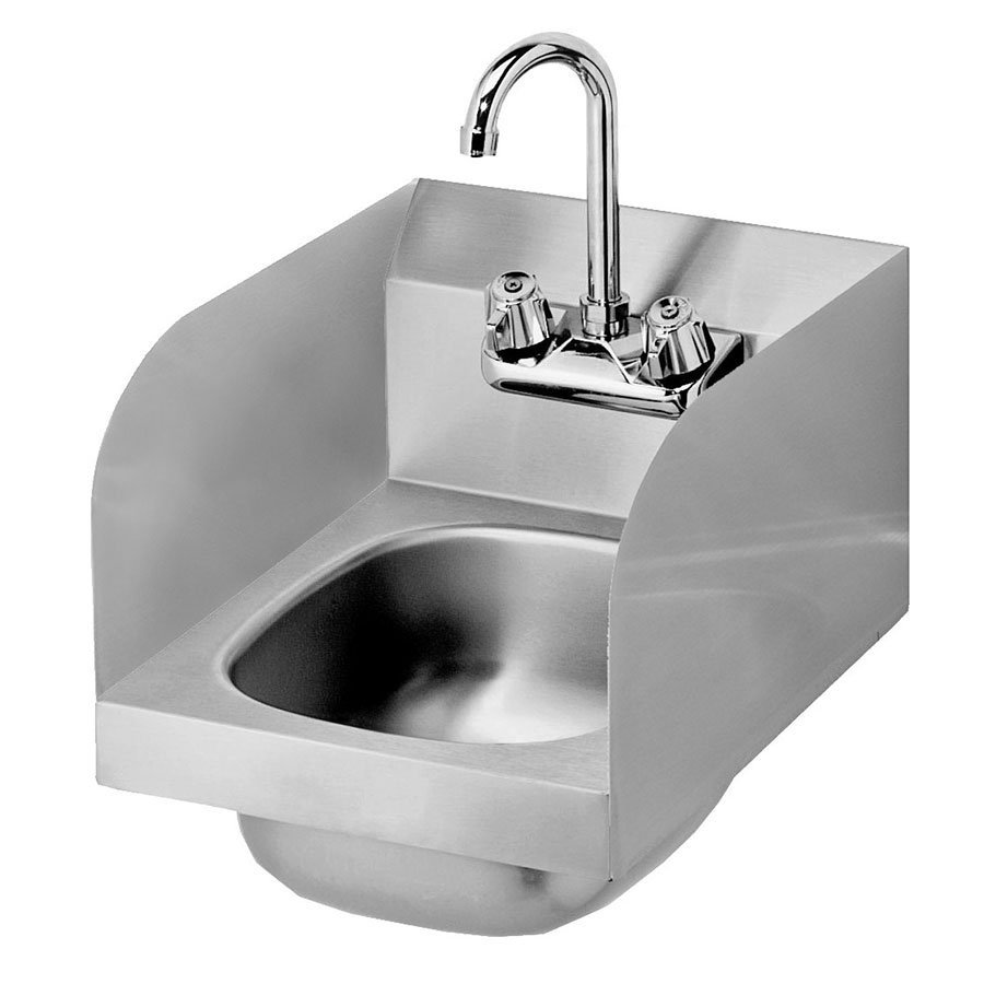 "Krowne HS-30L Wall Mount Space Saver Hand Sink - 10x14x6"" Bowl, P-Trap, 12x17"