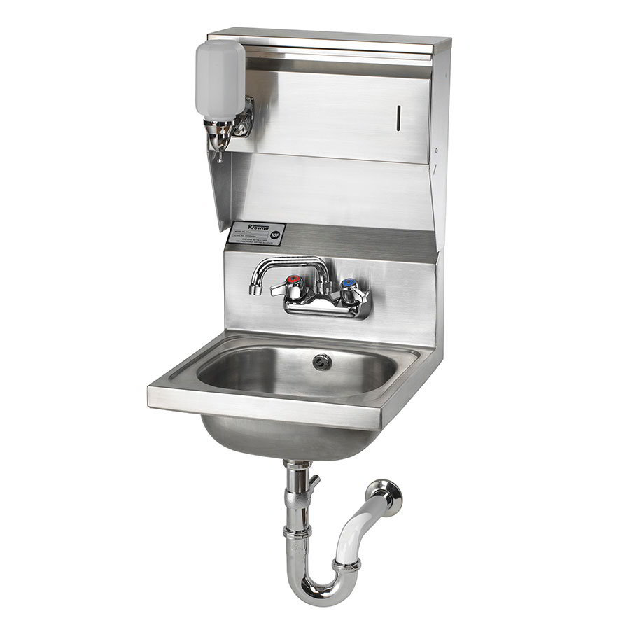 "Krowne HS-31 Wall Mount Commercial Hand Sink w/ 9.75""L x 11.75""W x 5""D Bowl, Soap Dispenser"