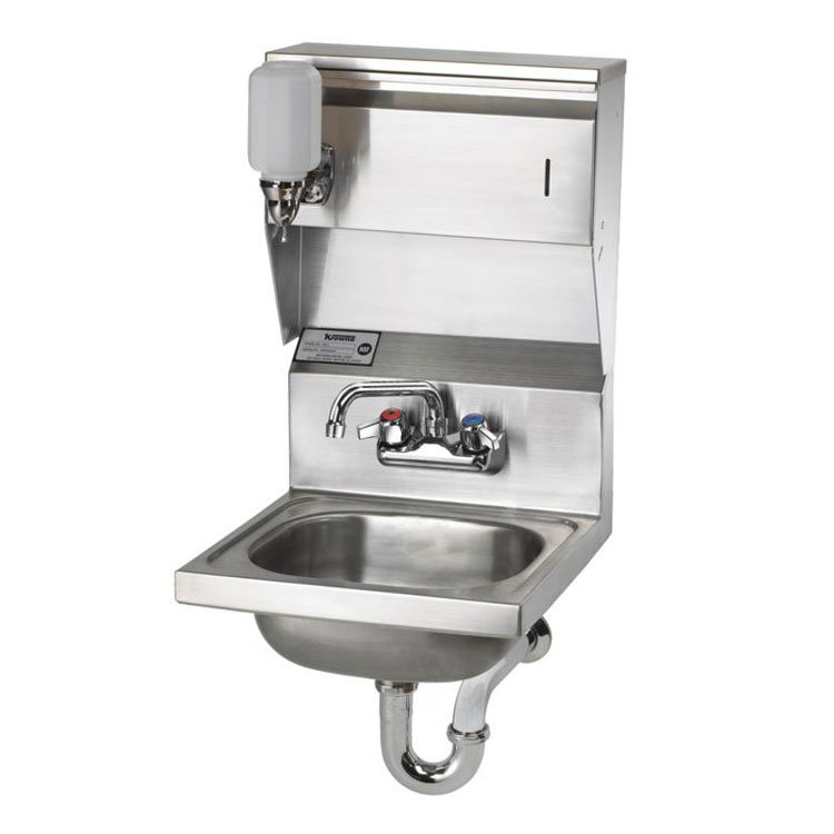 "Krowne HS-7 Wall Mount Commercial Hand Sink w/ 14""L x 10""W x 6""D Bowl, Soap Dispenser"