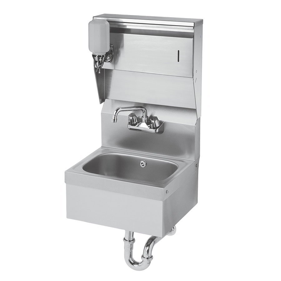 "Krowne HS-8 Wall Mount Commercial Hand Sink w/ 14""L x 10""W x 6""D Bowl, Soap Dispenser"