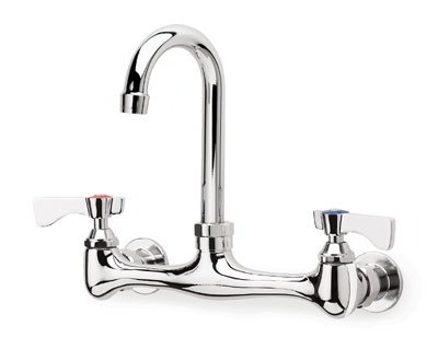 "Krowne 12-801L Splash Mount Faucet - 6"" Gooseneck Spout, 8"" Centers, Low Lead"