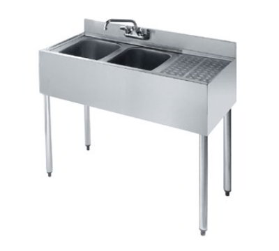 "Krowne KR18-32L Under Bar Sink - (2) 10x14x10"" Bowls, Faucet, 12"" Right Drainboard, 36x19"