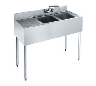 "Krowne KR21-32R Under Bar Sink - (2) 10x14x10"" Bowl, 12"" Left Drainboard, 36x21"