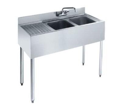 "Krowne KR18-32R Under Bar Sink - (2) 10x14x10"" Bowls, Faucet, 12"" Left Drainboard, 36x19"