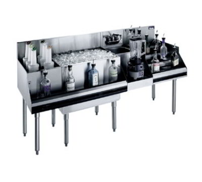 Krowne KR18-W72E-10 Cocktail/Blender/Liquor Unit - 80-lb Ice Bin, Dump Sink, 72x24