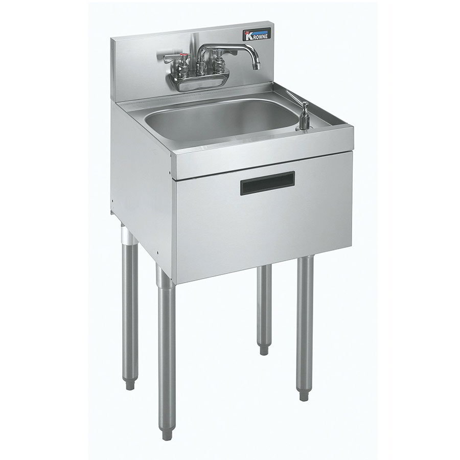 "Krowne KR18-18DST Commercial Hand Sink w/ 14""L x 10""W x 7""D Bowl, Soap Dispenser"