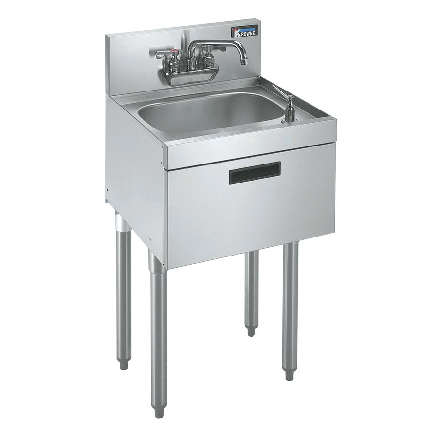 "Krowne 21-18ST Under Bar Sink - 10x14x7"" Bowl, Deck Mount, Soap/Towel Dispenser, 18x21"