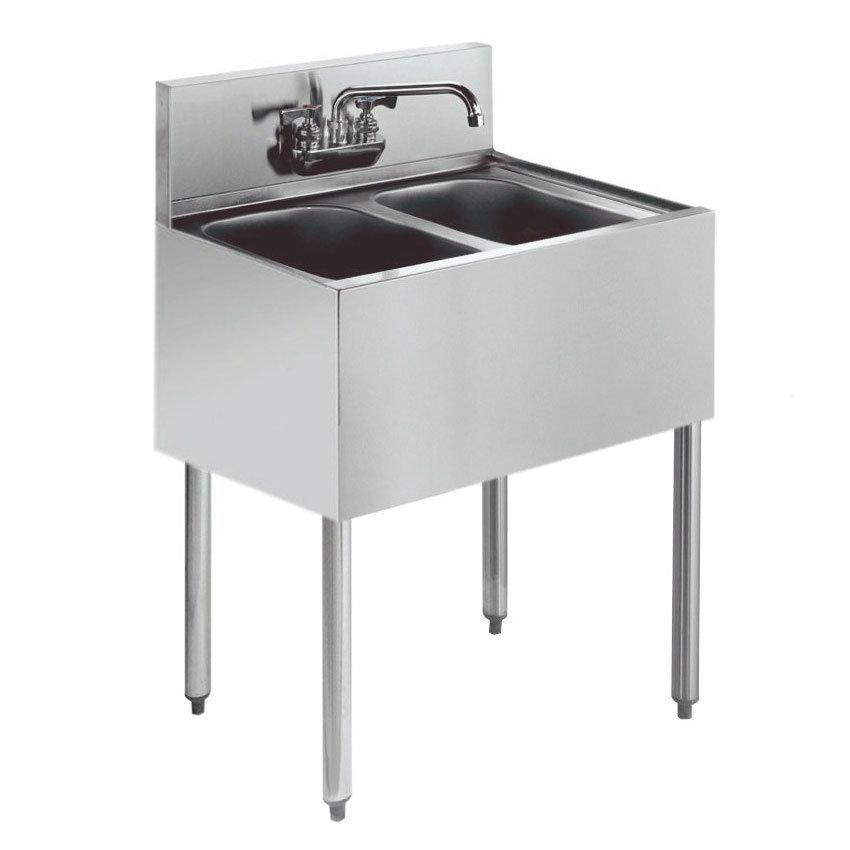 """Krowne KR18-22C 24"""" 2-Compartment Sink w/ 10""""W x 14""""L Bowl, 10"""" Deep"""