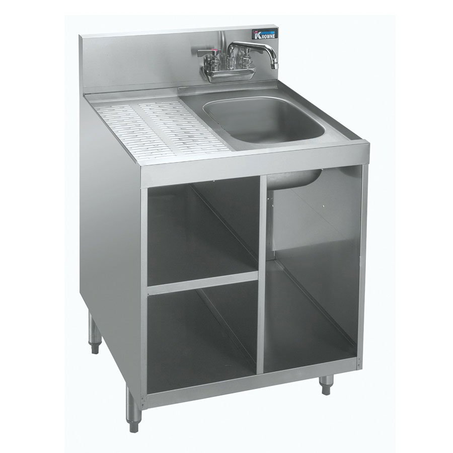 "Krowne KR18-24SC Under Bar Glass Storage Unit - Drainboard Top w/Sink, 7"" Back Splash, 24x24"