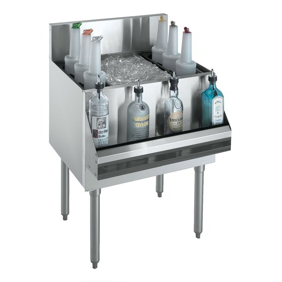 "Krowne KR18-30DP-10 Ice Bin - 120-lb Capacity, Bottle Racks, 7"" Back Splash, 30x19"", Cold Plate"
