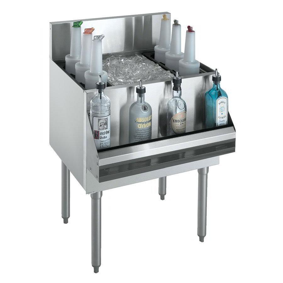 "Krowne KR18-30DP Ice Bin - 120-lb Capacity, Bottle Racks, 7"" Back Splash, 30x19"
