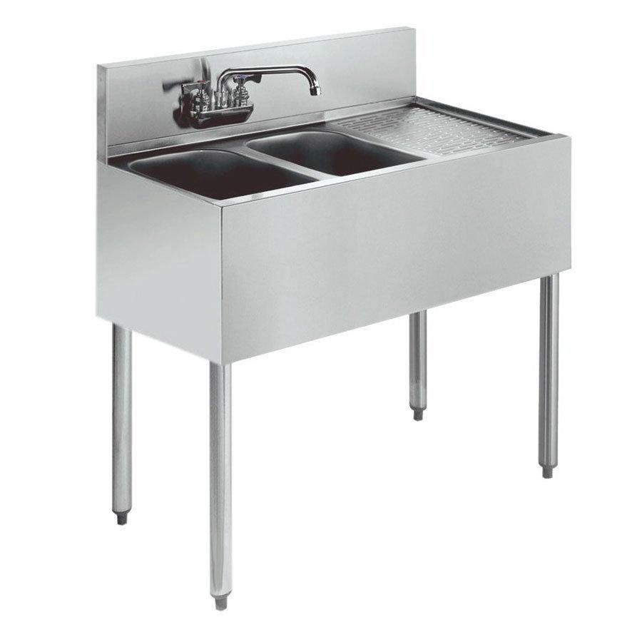"""Krowne KR18-42L 48"""" 2-Compartment Sink w/ 10""""W x 14""""L Bowl, 10"""" Deep"""