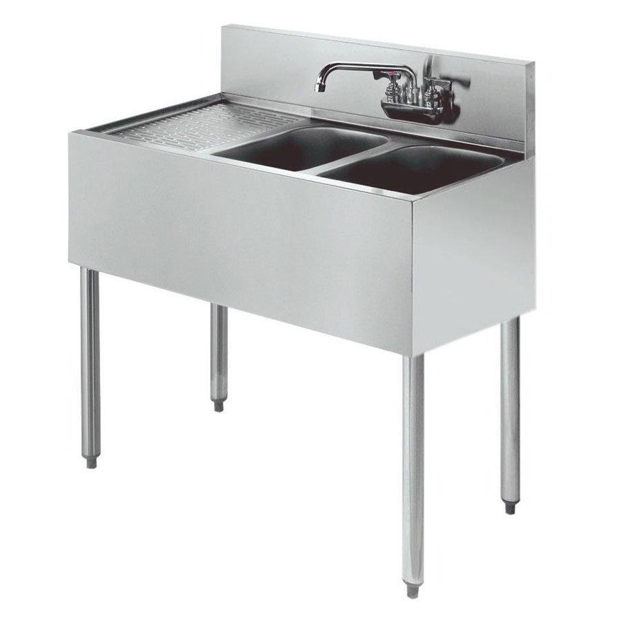 """Krowne KR18-42R 48"""" 2-Compartment Sink w/ 10""""W x 14""""L Bowl, 10"""" Deep"""