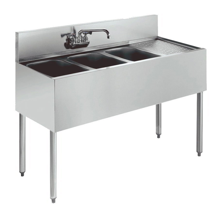 "Krowne KR18-43L 48"" 3-Compartment Sink w/ 10""W x 14""L Bowl, 10"" Deep"