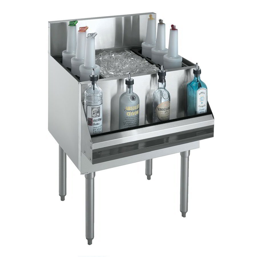 "Krowne KR18-48DP-10 Ice Bin - 178-lb Capacity, Bottle Racks, 7"" Back Splash, 48x19"", Cold Plate"