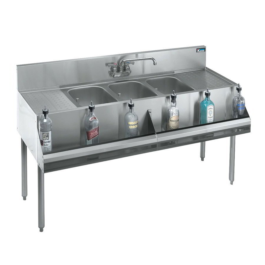 "Krowne 21-83C Under Bar Sink - (3) 10x14x9.75"" Bowl, Faucet, R-L Drainboard, 96x21"