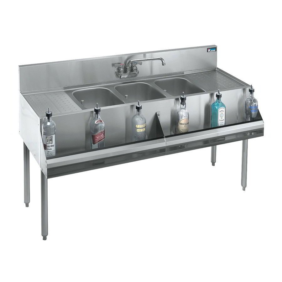 "Krowne KR18-63C 72"" 3-Compartment Sink w/ 10""W x 14""L Bowl, 10"" Deep"